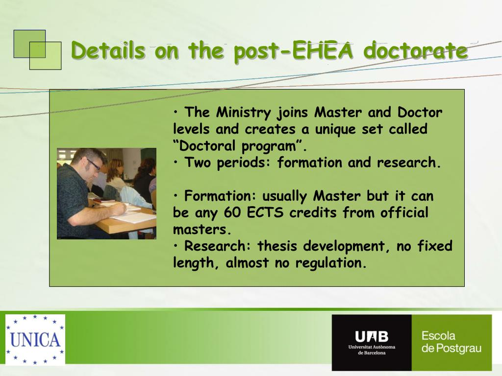 Details on the post-EHEA doctorate