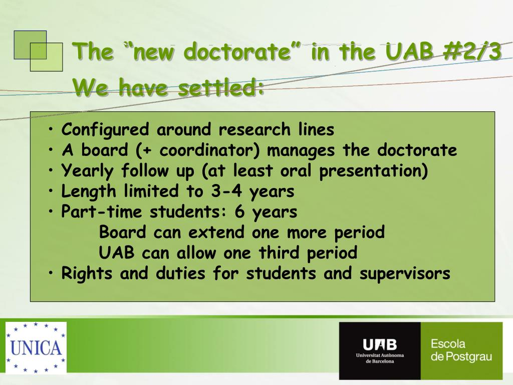 """The """"new doctorate"""" in the UAB #2/3"""