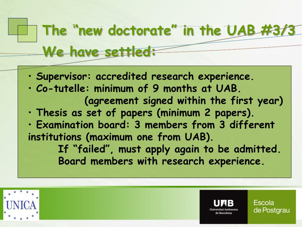 """The """"new doctorate"""" in the UAB #3/3"""