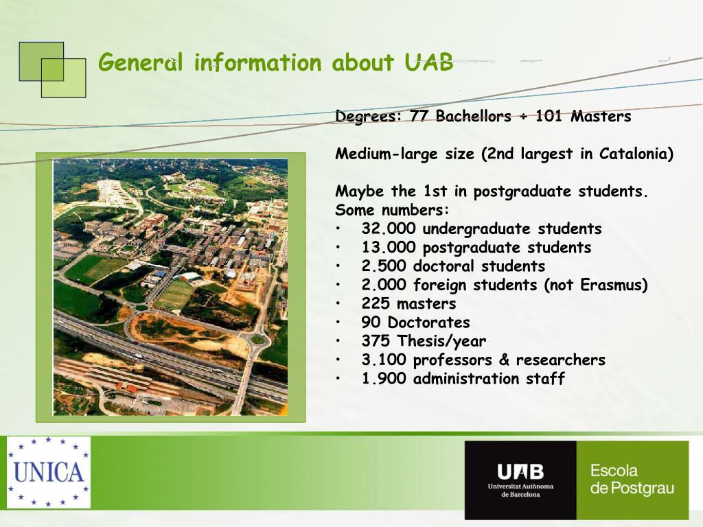 Degrees: 77 Bachellors + 101 Masters