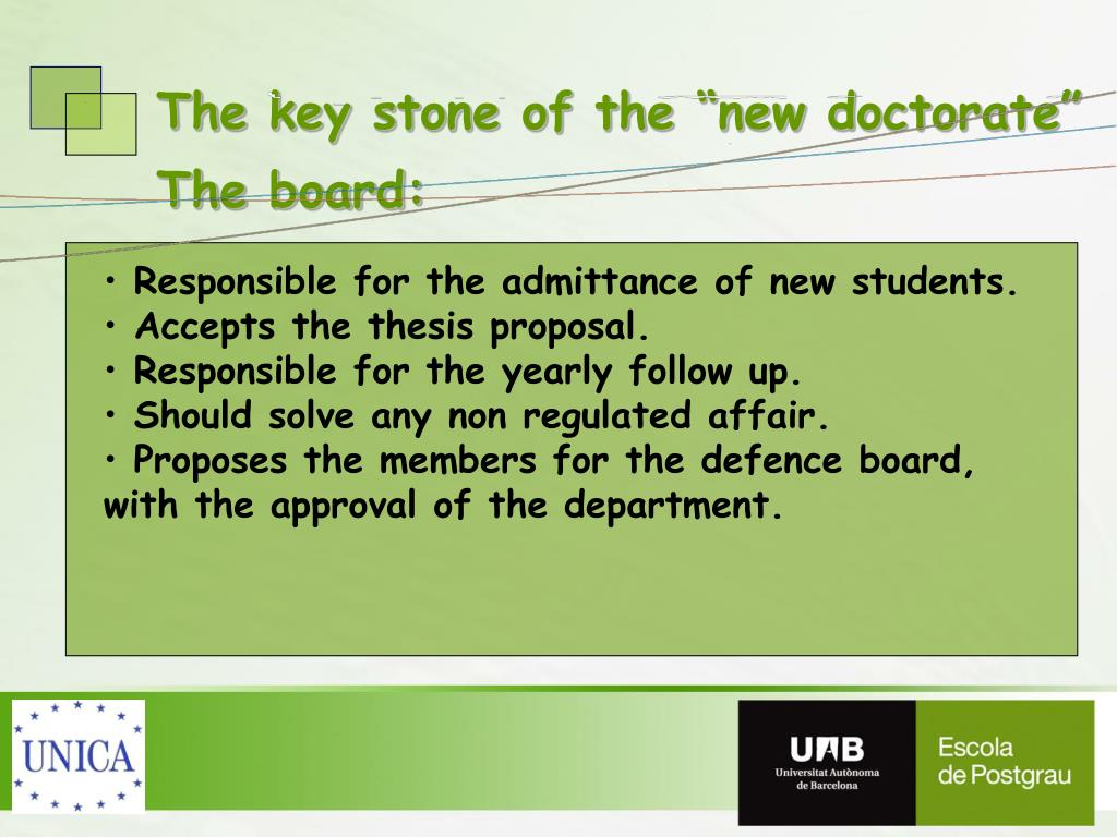 """The key stone of the """"new doctorate"""""""