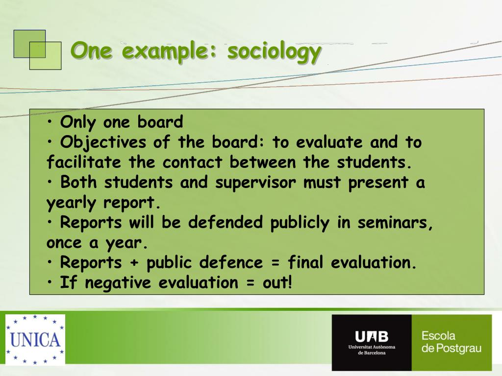 One example: sociology