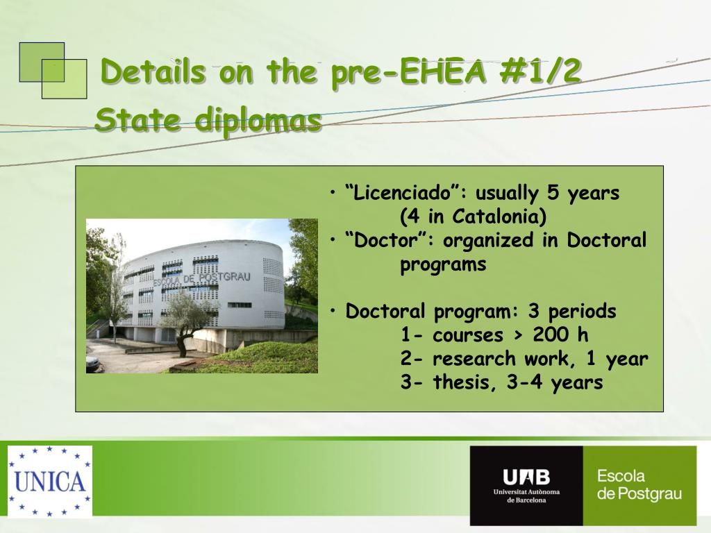 Details on the pre-EHEA #1/2