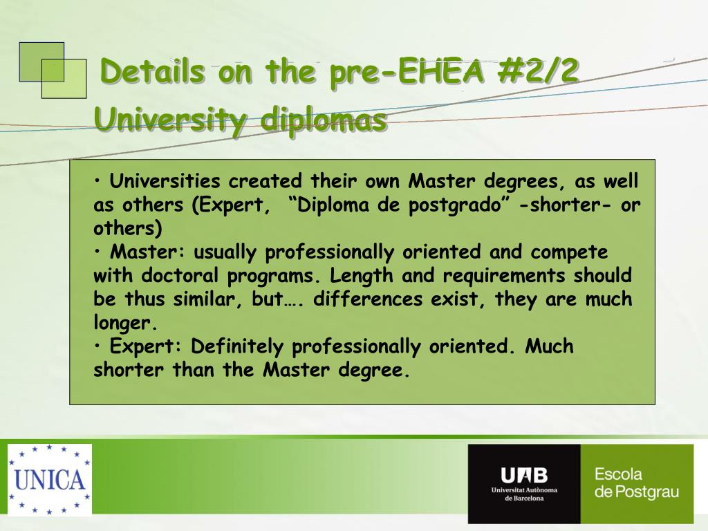 Details on the pre-EHEA #2/2