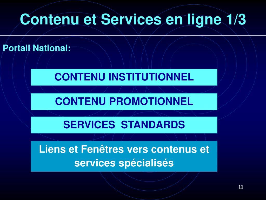 Contenu et Services en ligne 1/3