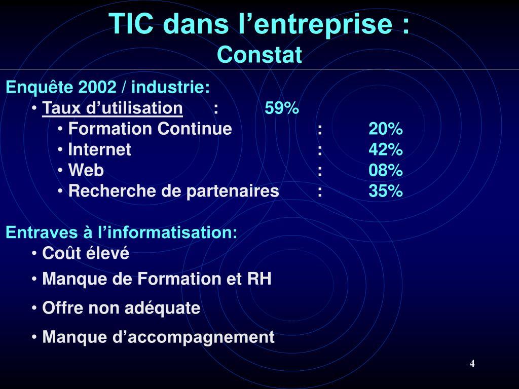 TIC dans l'entreprise :
