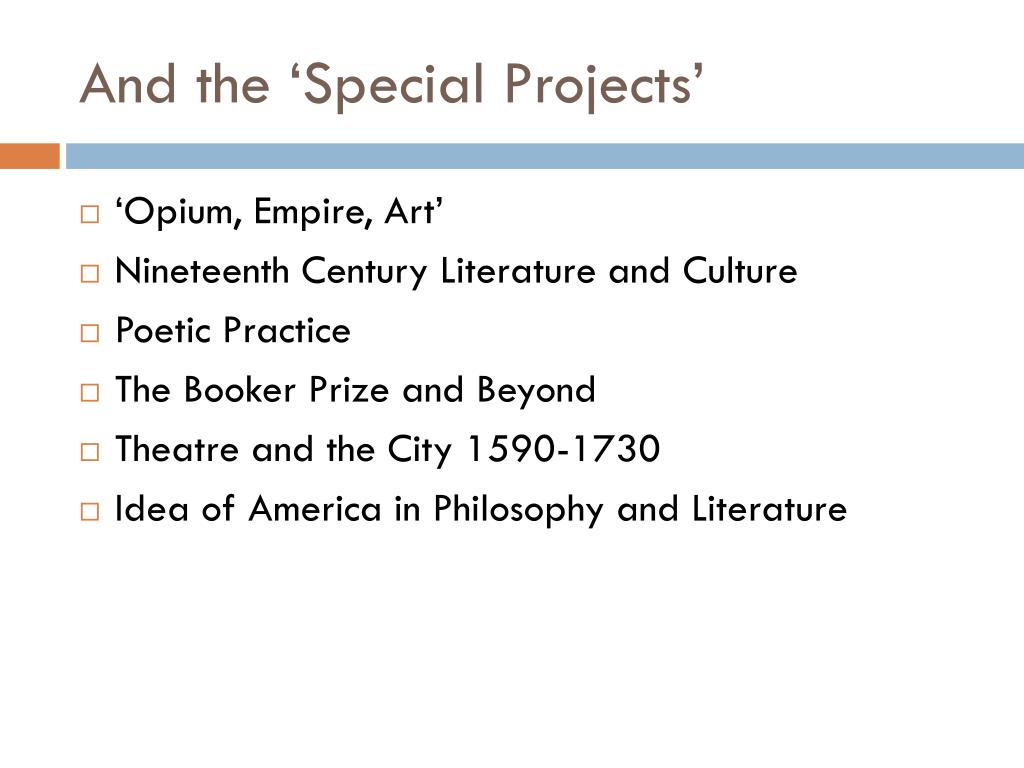 And the 'Special Projects'