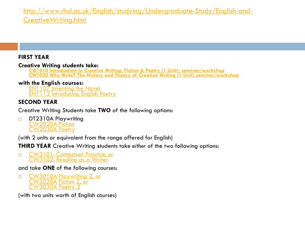 http://www.rhul.ac.uk/English/studying/Undergraduate-Study/English-and-CreativeWriting.html