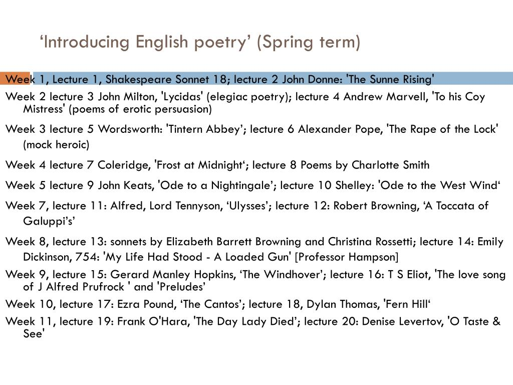 'Introducing English poetry' (Spring term)