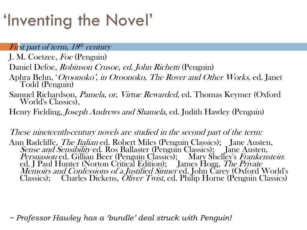 'Inventing the Novel'