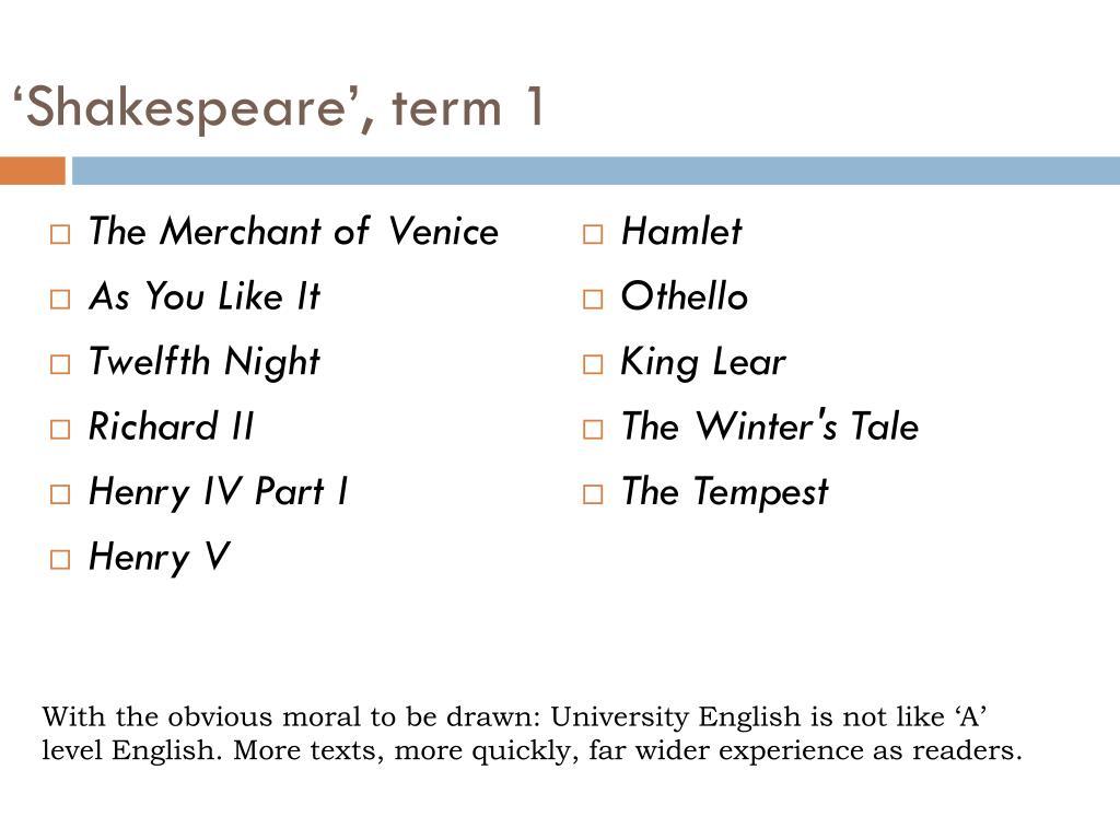 'Shakespeare', term 1