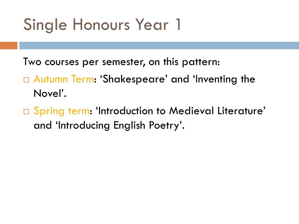Single Honours Year 1