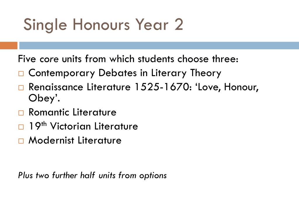 Single Honours Year 2