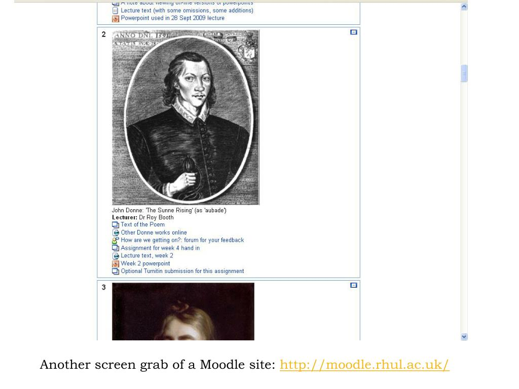 Another screen grab of a Moodle site: