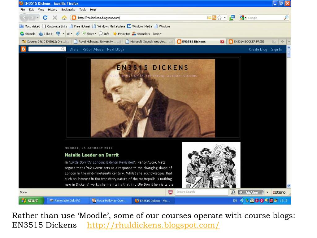 Rather than use 'Moodle', some of our courses operate with course blogs: EN3515 Dickens