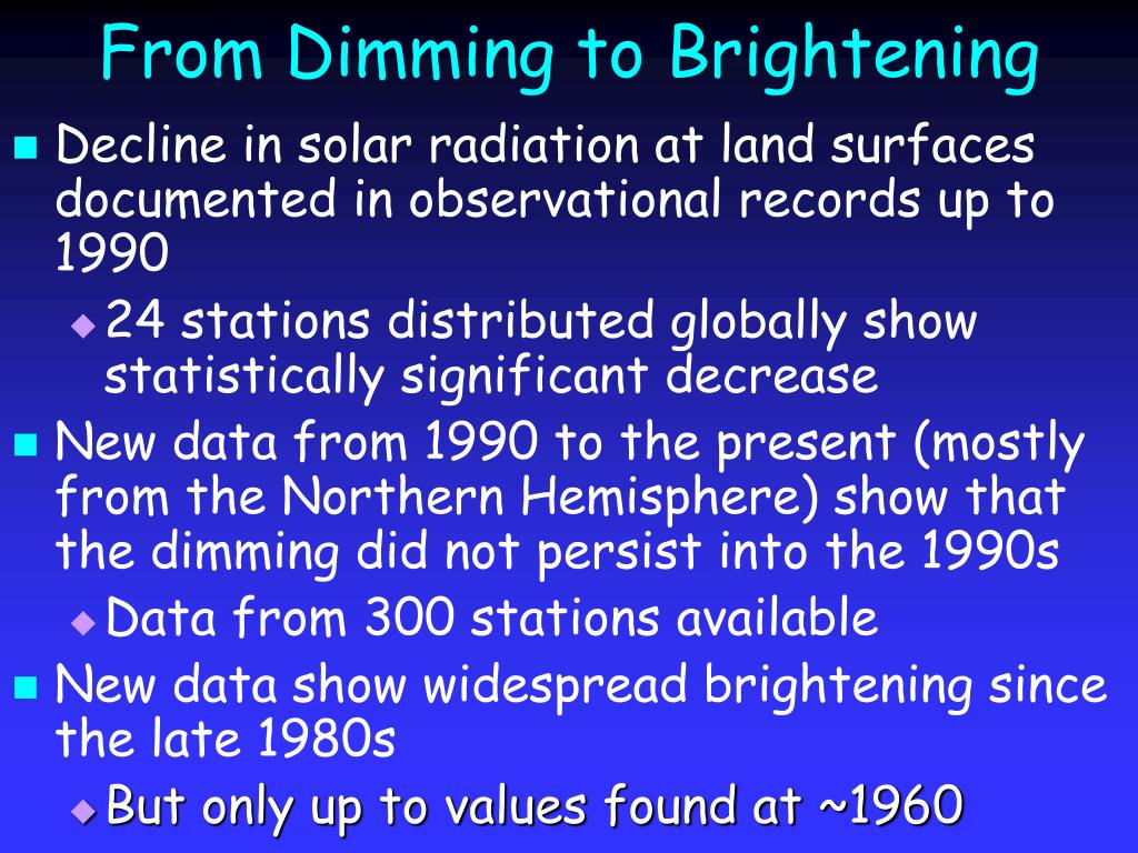 From Dimming to Brightening