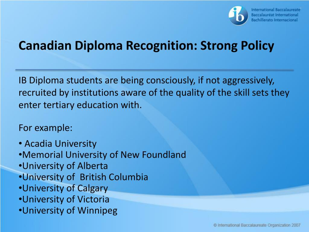 Canadian Diploma Recognition: Strong Policy