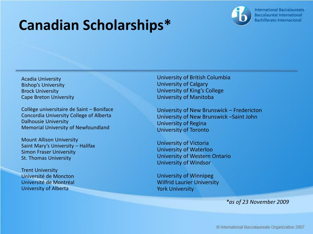 Canadian Scholarships*