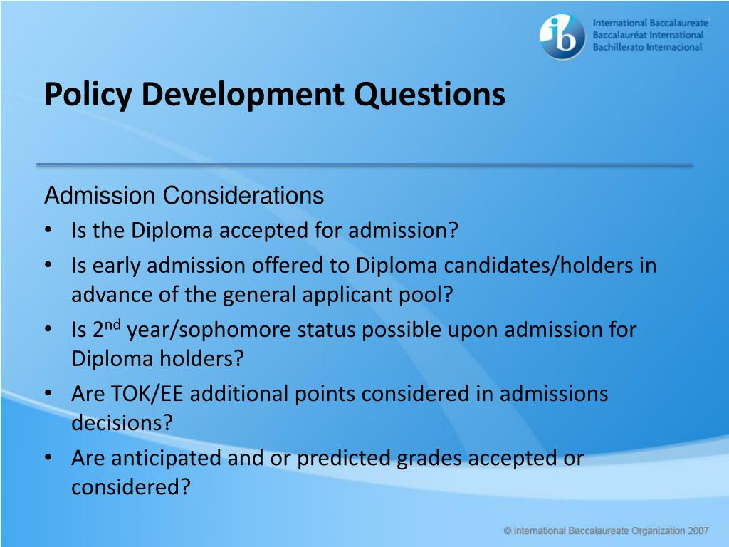 Policy Development Questions