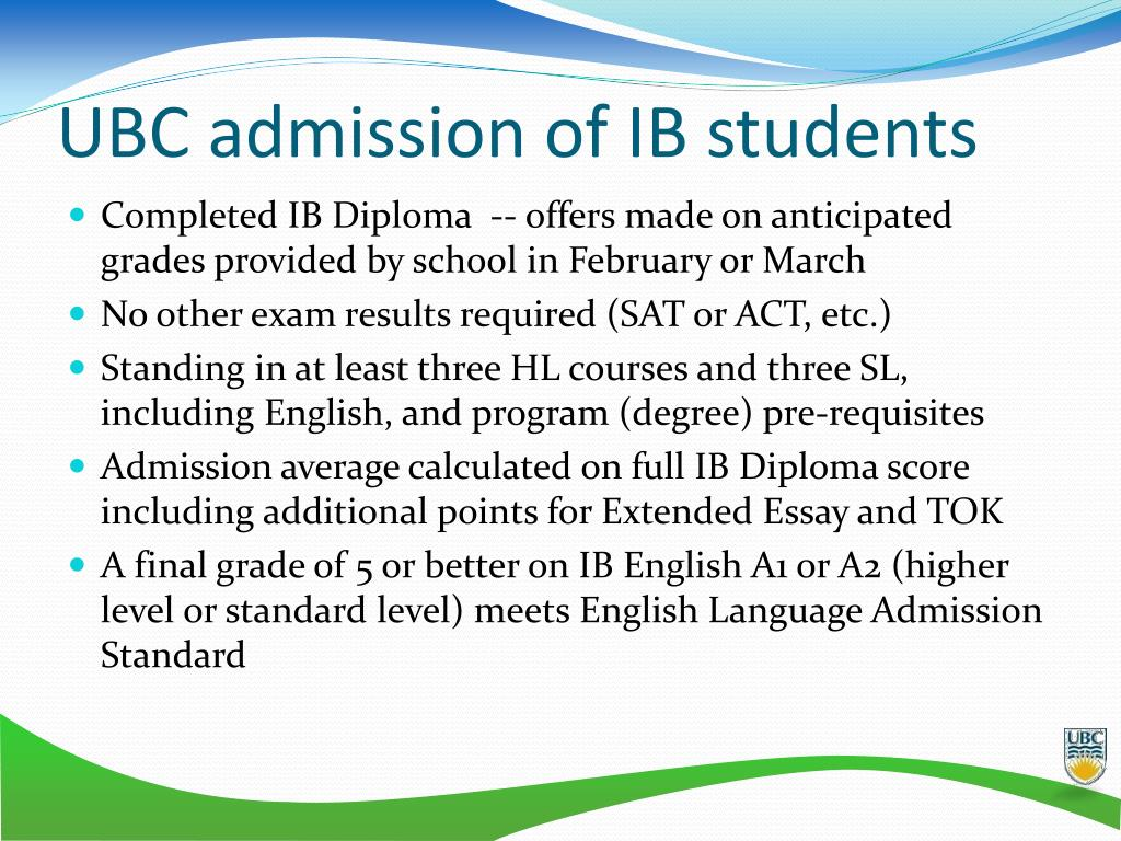 UBC admission of IB students