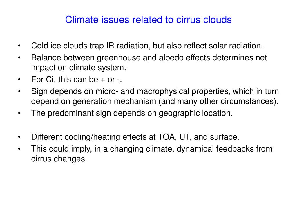Climate issues related to cirrus clouds