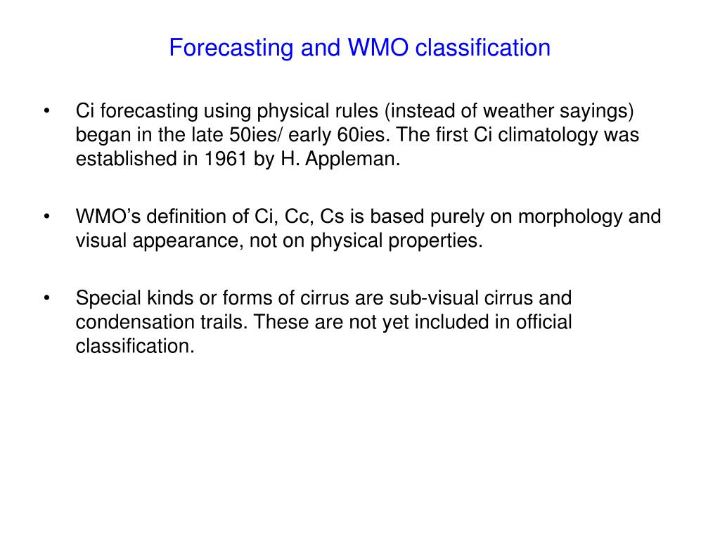Forecasting and WMO classification