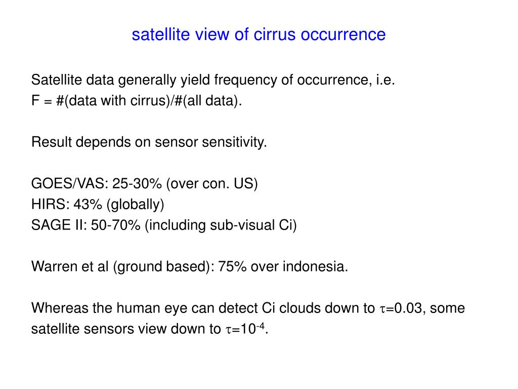 satellite view of cirrus occurrence