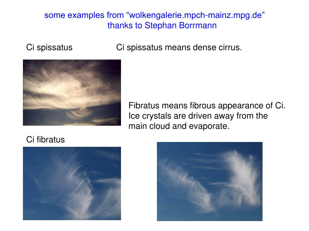 """some examples from """"wolkengalerie.mpch-mainz.mpg.de"""""""