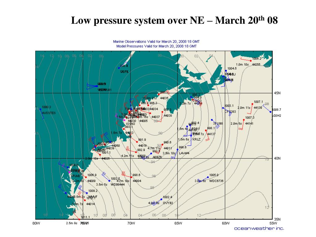 Low pressure system over NE – March 20