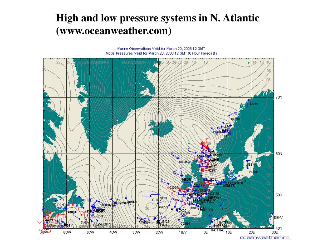 High and low pressure systems in N. Atlantic