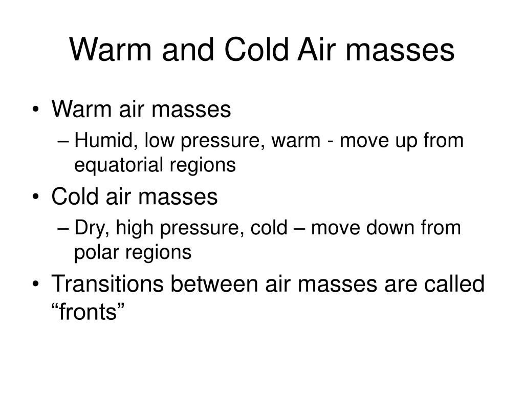 Warm and Cold Air masses