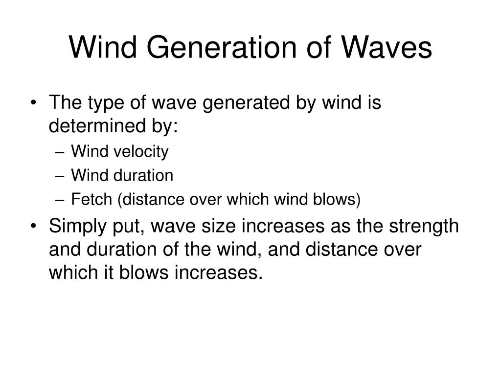 Wind Generation of Waves