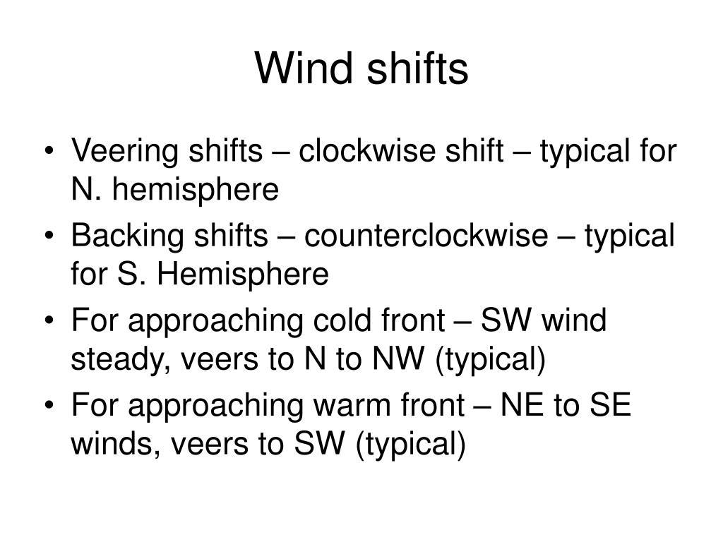Wind shifts