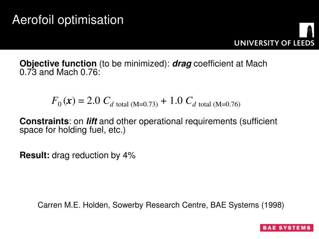 Aerofoil optimisation