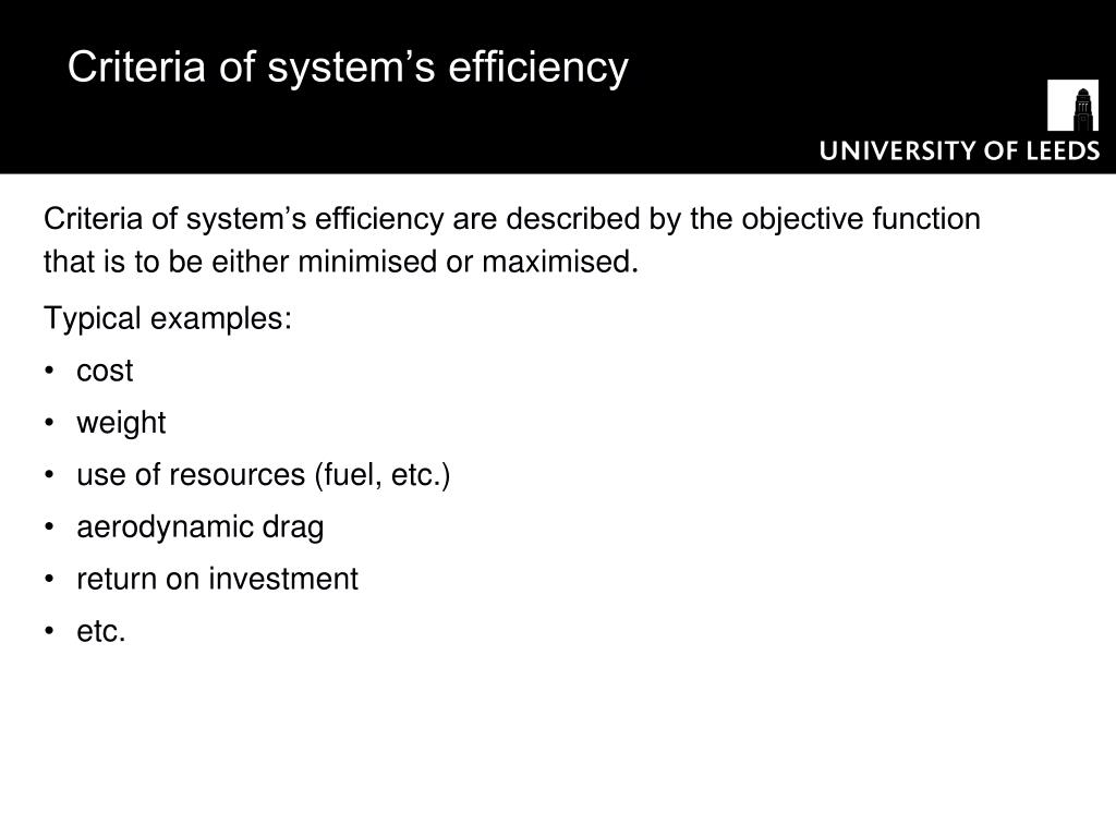 Criteria of system's efficiency