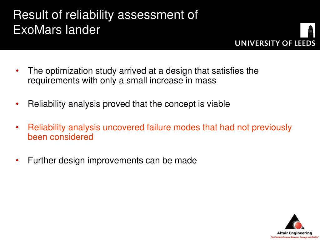 Result of reliability assessment of ExoMars lander