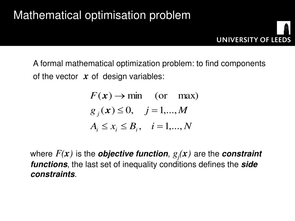Mathematical optimisation problem