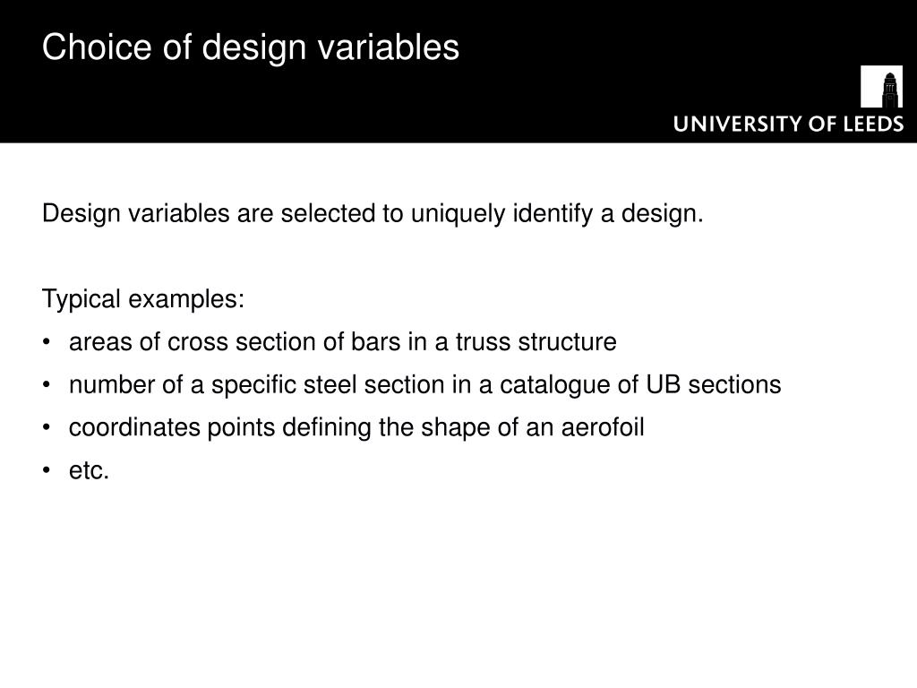 Choice of design variables