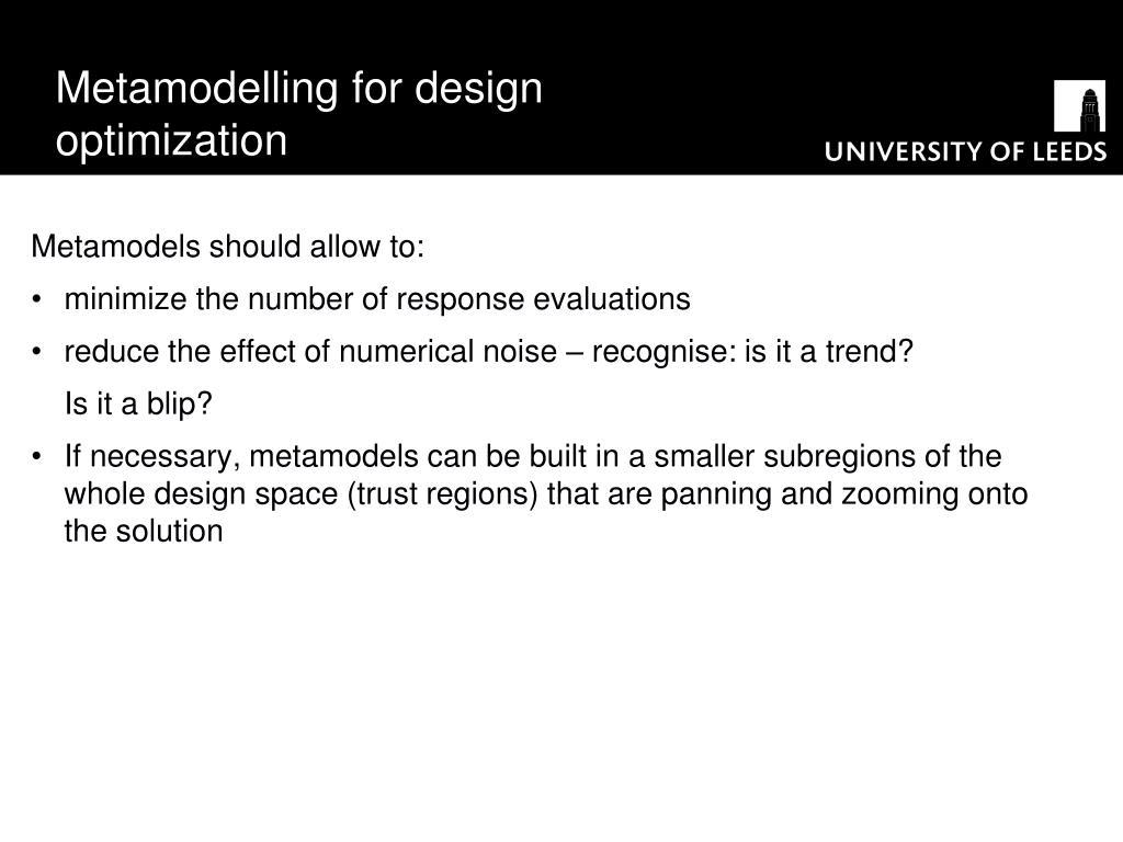 Metamodelling for design optimization