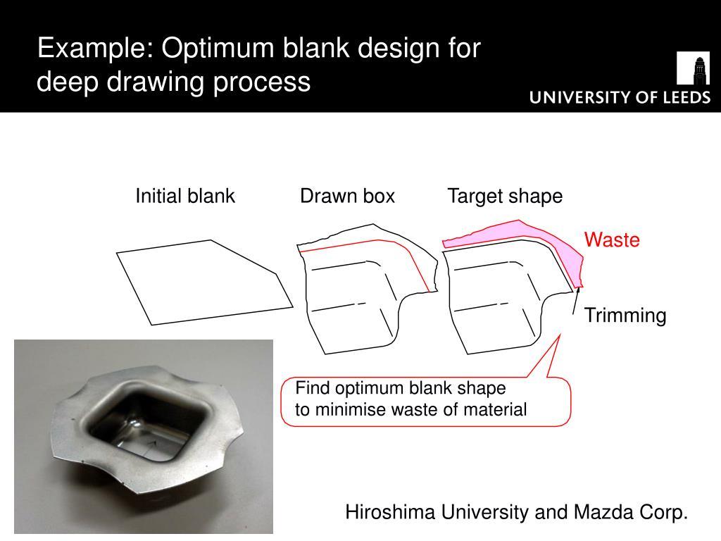 Example: Optimum blank design for deep drawing process