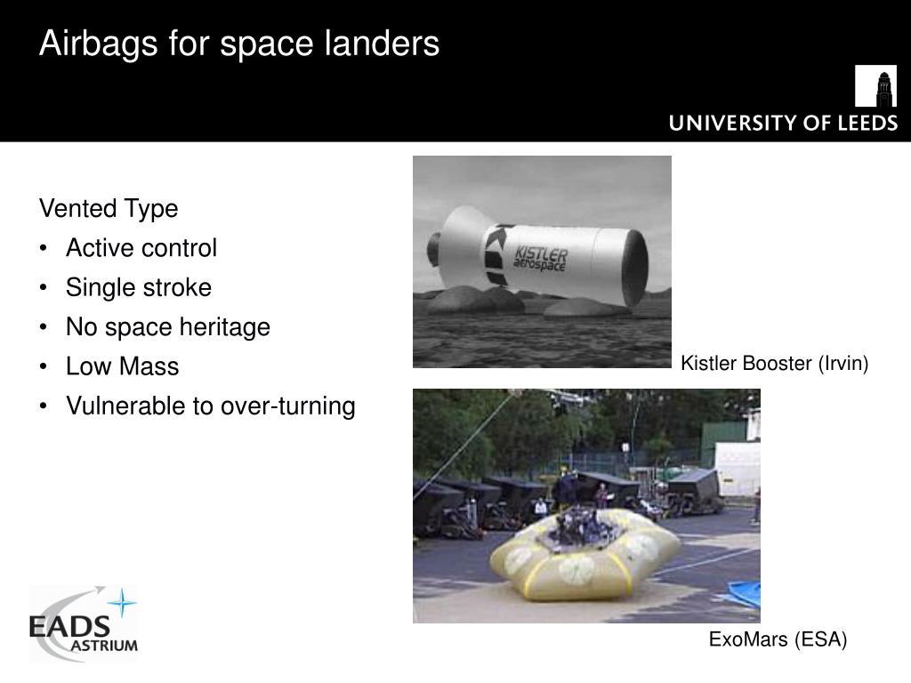 Airbags for space landers