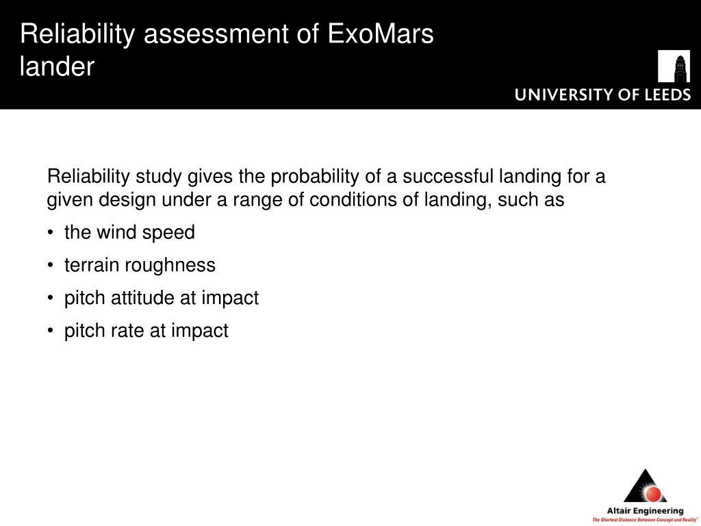 Reliability assessment of ExoMars lander