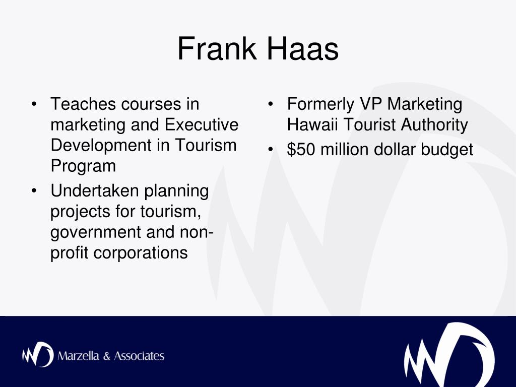 Teaches courses in marketing and Executive Development in Tourism Program