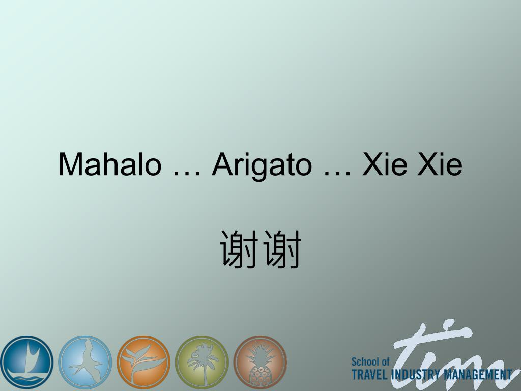 Mahalo … Arigato … Xie Xie