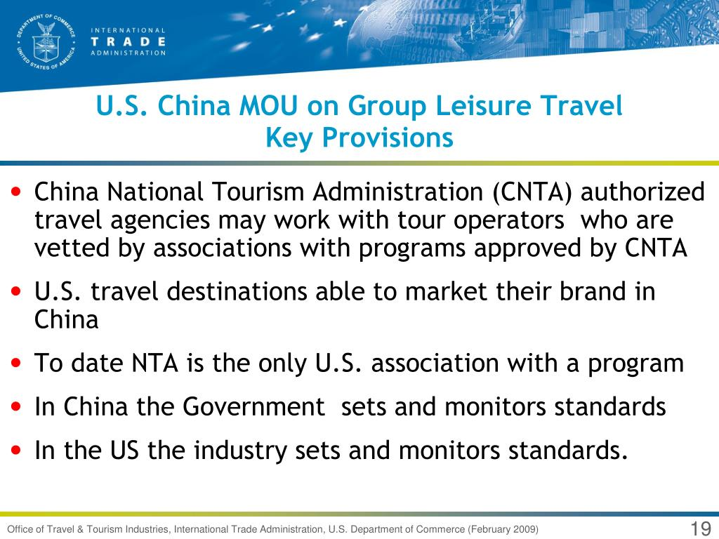 U.S. China MOU on Group Leisure Travel
