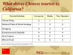what drives chinese tourists to california