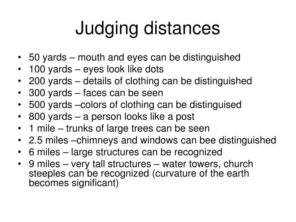 Judging distances