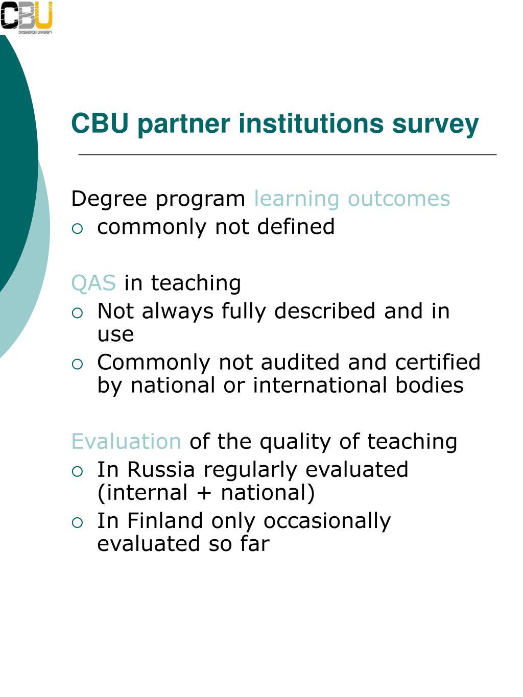 CBU partner institutions survey