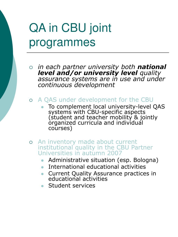 QA in CBU joint programmes
