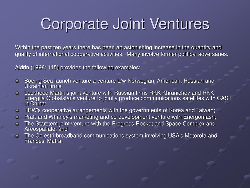 Corporate Joint Ventures